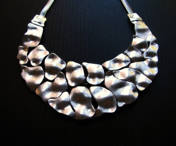 Silver Statement Necklace - Cracks In The Armor Statement Necklace