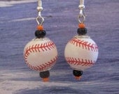 Orange and Black Baseball Earrings with Sterling Silver Ear Wires FREE USA Shipping