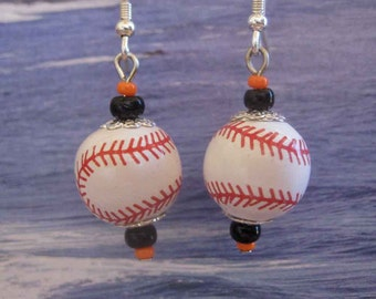 Orange and Black Baseball Earrings FREE Shipping