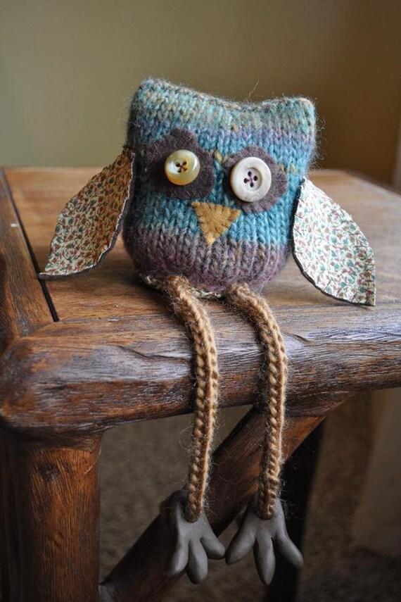 Long Shanks Collection: Knit Fabric Heathery Owl Amigurumi