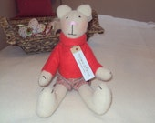 Handmade Bear with Checked Shorts & Red Fleece Sweater. Can be personalised