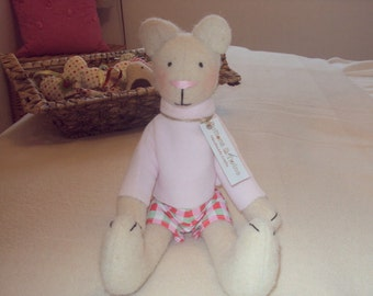Cute Handmade Bear with Checked Shorts & Pink Fleece Sweater. Can be personalised