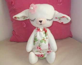 Sleeping Baby Lamb with Cath Kidston Rosali fabric dress. Can be personalised