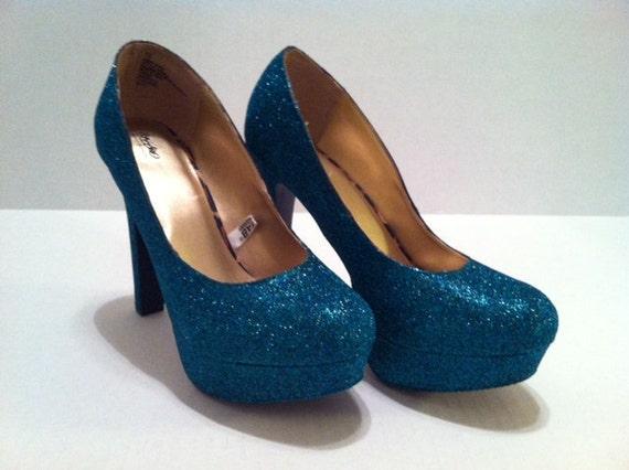Peacock Teal Glitter Heels -  Sparkle Pumps
