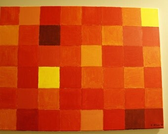"""Original acrylic painting on streched canvas - """"Pixelated Sun"""""""
