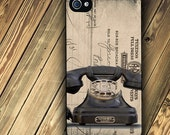 iphone 4 case iphone 4 cover iphone 4s case iphone 4s cover with Rotary Telephone image and Vintage background