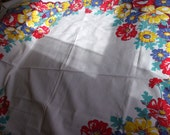 """TABLE CLOTH vintage 60's, bright floral print red, yellow, blue, green, cotton, 52"""" x 48"""""""