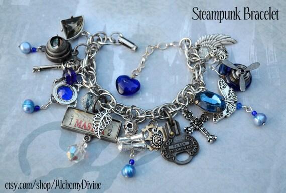 Oracle, Steampunk loaded charm bracelet, repurposed, industrial, edgy.