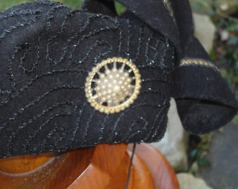 CLEARANCE  Vintage Glenover Henry Pollak 100 % wool black hat with couching stitch and black glass beading