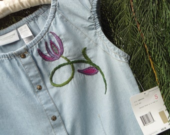 REDUCED  Hand embroidered  new Liz Claiborne top size small