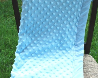 Baby Blanket - Minky Dot and Satin - Blue
