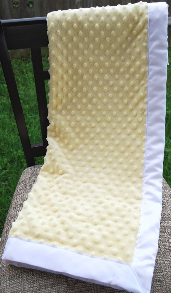 Baby Blanket - Minky Dot and Satin - Yellow and White