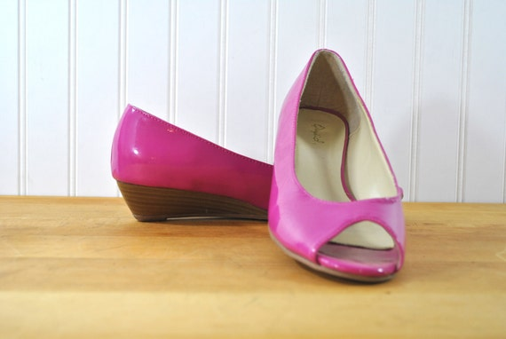 Hot Pink Shoes Flats Wedges Open Toe Size 7.5 to 8 US 38 to 38.5 EUR