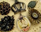 Victorian Chic Black Charm Pendant Mix Destash, Rhinestones, Collage Charm, Queen Victoria, Mourning Black, Vintage Earring