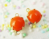 Bright Orange 8mm Vintage Opaque Glass Stones, Jewels, Rhinestones 1 ring or 2 ring brass settings (6)