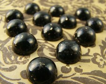 Vintage Cabochons Onyx Black Gold Flecks 11mm Round  Lucite  (6)