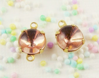 Rosaline Pink 8mm Vintage Glass Stones, Jewels, Rhinestones in 1 ring or 2 ring brass settings (6)