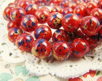 Vintage 8mm Red with Blue & Tan Splatter Speckled Beads Lucite - 12