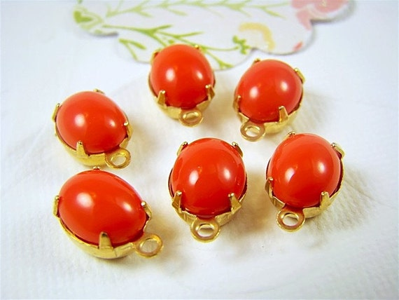 Vintage Opaque Coral Oval Stones Jewels 10x8mm 2 Ring or 1 Ring (4)