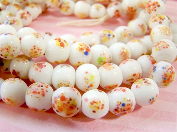 Vintage White Milk Glass Multi Colored Speckled Millefiori Beads 8mm (8)