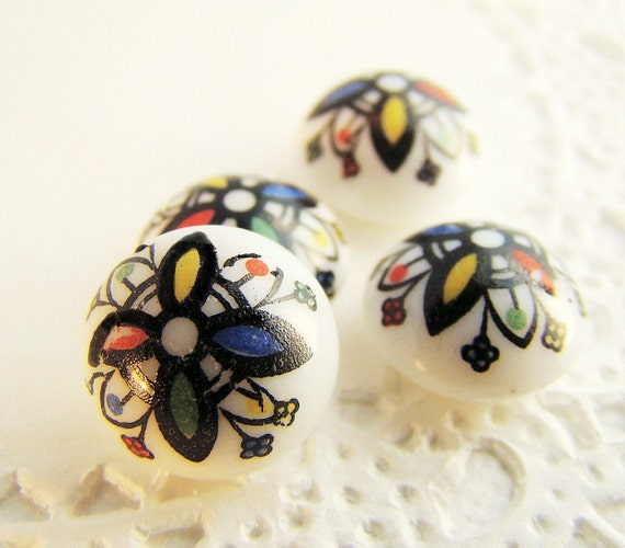 Colorful Art Deco Style Flower Glass Cabochons 10mm Vintage (4)
