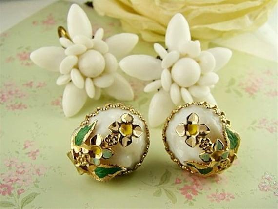 Shabby Chic Milk Glass White Flower Earrings Destash Beaded and Enameled Collection (4)