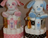 Baby Diaper Cake, Plush Ty Dogs on top