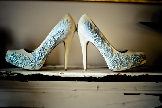 Something Blue Ivory and Lace Feather Velvet Bridal Pumps