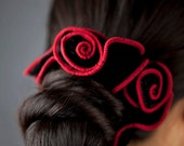 Fancy Velvet Hair Scrunchie - Red Spanish Rose - Black Crushed Velvet with Red Trim And Hand Twisted Flowers