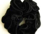 Black Velvet Hair Scrunchie - Spanish Rose - Fancy Black Crushed Velvet with Black Trim And Hand Twisted Flowers