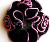 Pink And Black Fancy Velvet Hair Scrunchie - Spanish Rose Crushed Velvet Scrunchie with Light Pink Trim