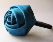 Dark Turquoise, Teal, Blue Flower Elastic Ponytail Holder - Satin Rose On Black Elastic Hair Tie