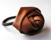 Chocolate Coco Brown Rose Flower Elastic Ponytail Holder, Ponytail Tie - Hand Twisted Satin Rose On Black Elastic Hair Tie