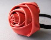 Salmon Pink Flower Elastic Ponytail Holder, Ponytail Tie - Hand Twisted Satin Rose On Black Elastic Hair Tie