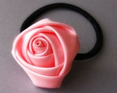 Pale Pink Flower Elastic Hair Tie - Hand Twisted Satin Rose On Black Elastic Hair Holder