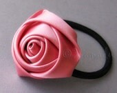 Satin Pink Flower Elastic Ponytail Holder, Ponytail Tie