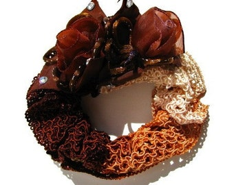 Chocolate Brown Fancy Hair Scrunchie - Silk Netting Scrunchie with Handmade Organza Tulips Flowers - Great For Thick Ponytails