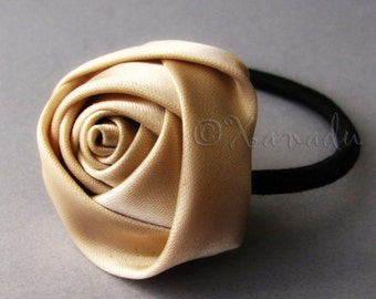 Ivory, Taupe, Beige Flower Elastic Ponytail Holder, Ponytail Tie - Hand Twisted Satin Ivory Rose Flower On Black Elastic Hair Tie