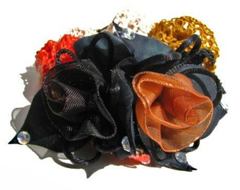 Black, Brown, Red Floral Hair Scrunchie - Silk Netting Scrunchie with Handmade Organza Tulips Flowers - Great For Thick Ponytails