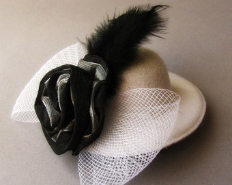 Small White Top Hat Fascinator - Whimsical White Hat Hair Clip - Structured White Felt Hat with Black Feather Embellishments