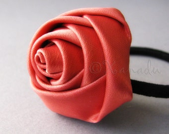 Salmon Pink Flower Elastic Ponytail Holder, Ponytail Tie - Hand Twisted Satin Rose On Black Elastic Hair Tie