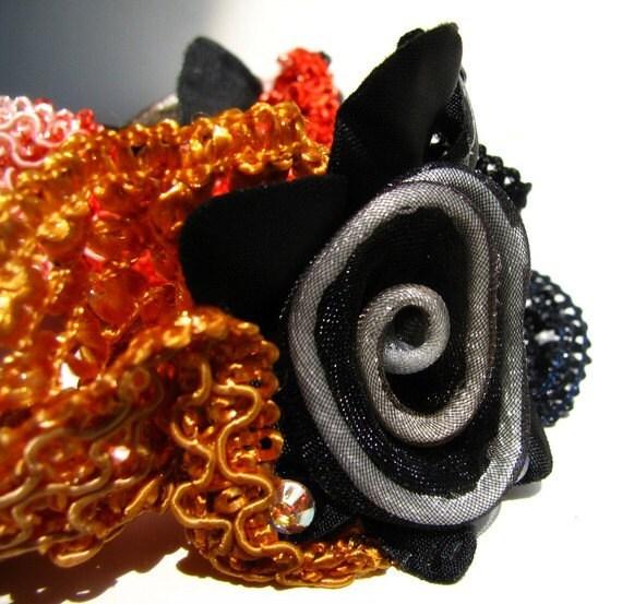 Black, Brown, Red Floral Hair Scrunchie - Silk Netting Scrunchie with Handmade Organza Sunflowers
