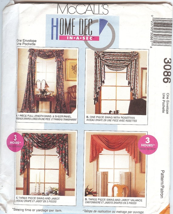 Vintage McCall's Home Dec In-a-Sec 3086 Curtain By NookCove