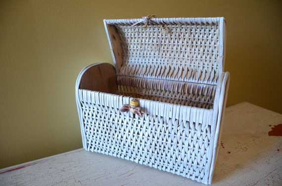 Antique glass bumble bee on white wicker basket box with lid - Wicker beehive basket ...