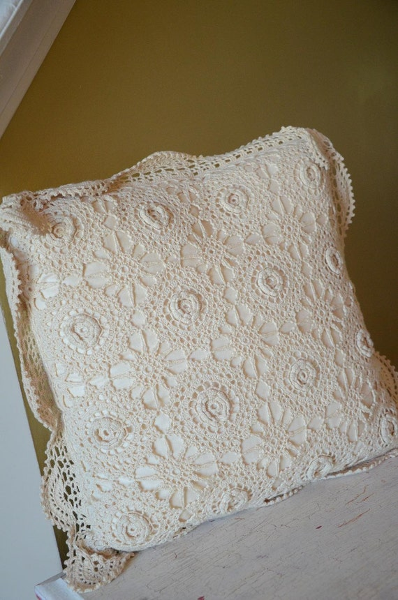 Cream Antique Cottage Shabby Chic Lace Pillow with gorgeous