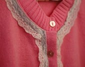 Candy Pink with Pink Lace Trim Knit Cardigan