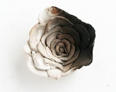 Romantic Smoke Fired Rose Ornament: rustic home decor, shabby chic, floral, romance, grey flower, rugged, primitive