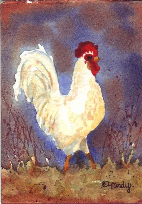 ACEO Original Watercolor - Proud Rooster