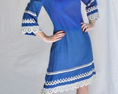Sale was 58 1970s Boho Folk Chic meets MadMen Fashions, Royal Blue and White Small-Medium