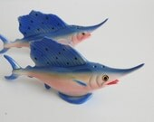 Blue Marlin Salt and Pepper Shakers Princess China 1950's - Dead Stock